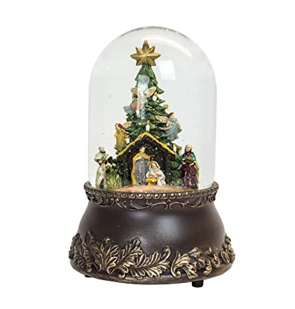 large nativity scene christmas snow globe musical - Large Christmas Snow Globes