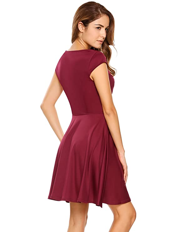 7db23976b6 HOTOUCH Women Cute V Neck Pleated Skater Dress Knit Dress (Wine Red XL) at  Amazon Women s Clothing store