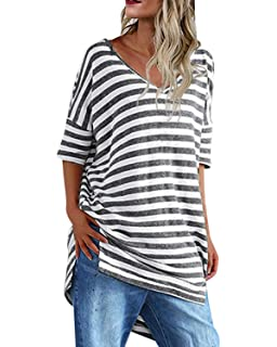 0e3a917d CNFIO Womens Casual Striped Tops Long Sleeve Tunic Shirt Loose Fit Oversized  Shirts Tops