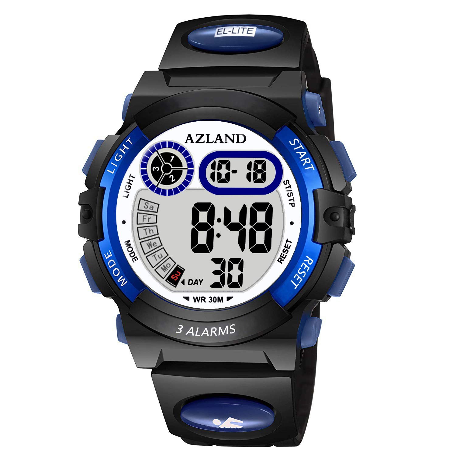 AZLAND Boys Girls Watches Digital Sports Watch Features Night-Light,Swim,Frozen,Waterproof Kids Watch, Blue by AZLAND