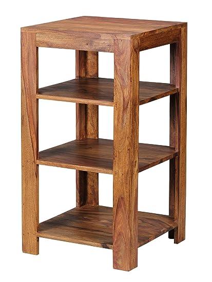 WOHNLING Standregal Massiv-Holz Sheesham 83 cm Wohnzimmer-Regal mit 3  Ablagefächer Design Landhaus-Stil Beistelltisch Natur-Produkt  Wohnzimmermöbel ...