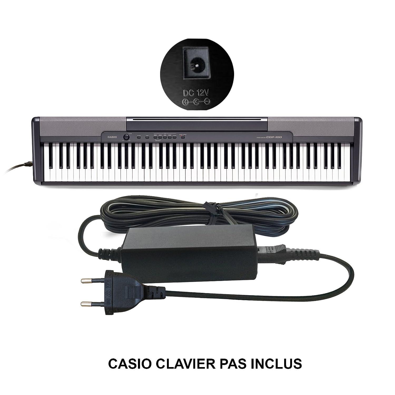 ABC Products® Remplacement Casio DC 12V / 12V Volt Adaptateur Secteur Mur Cable (AD-12M3, AD-12MLA(U), AD-12MLA, AD-12M, AD-12UL, AD-12, AD-12FL, FC2, TJ2) pour Casio Synthesizers / Piano's / Keyboards / Clavier etc (modèles indiqués ci-d