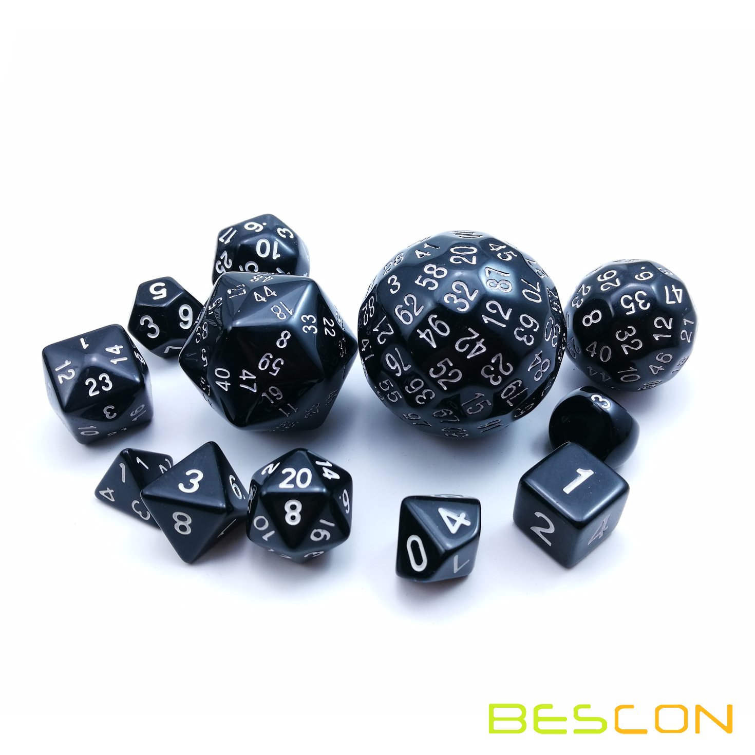 Bescon Complete Polyhedral Dice Set 13pcs D3-D100, 100 Sides Dice Set Opaque Black by BESCON DICE (Image #3)