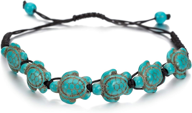 Turtle Stone Beads Chain Bracelet for Women Men Adjustable Handmade Woven Rope Bracelet Yoga Beads Relaxation Jewelry (Green Turtle)