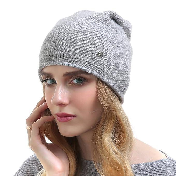 OLLEBOBO Cappello a maglia donna con cappello di cachemire grigio chiaro:  Amazon.it: Abbigliamento