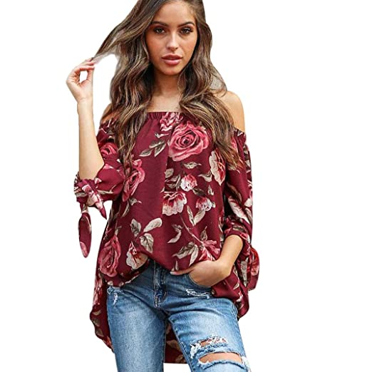 4e36559657a0a2 Minisoya Women Off Shoulder Floral Print Blouse Long Sleeve Asymmetric Shirt  Bow Knotted Pullover Tunic Long