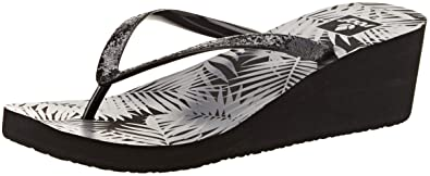 24fcfd0e95 Reef Womens Krystal Star Prints Black Grey Tropical Wedge Sandals Size 4