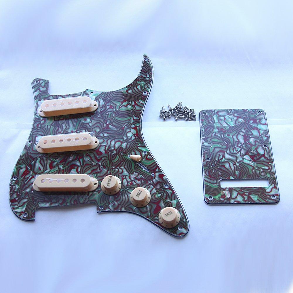 Kmise Z4705 Set Breen Shell Guitar Pickguard Back Plate Tremolo Cavity & Pickup Cover by Kmise (Image #6)