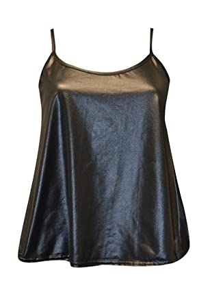 2fe7e06b12f97 Amazon.com  FashionMark Women s New Strappy Wet Look PVC Camisole Vest Top   Clothing