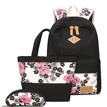 Zhrui Mochila Escolar Lienzo Schoolbag Ocio Chica Colegio Adolescente Impreso Mochila Floral + Bolso + Estuche 3pcs para Viajes Escolares (Color : Negro, ...