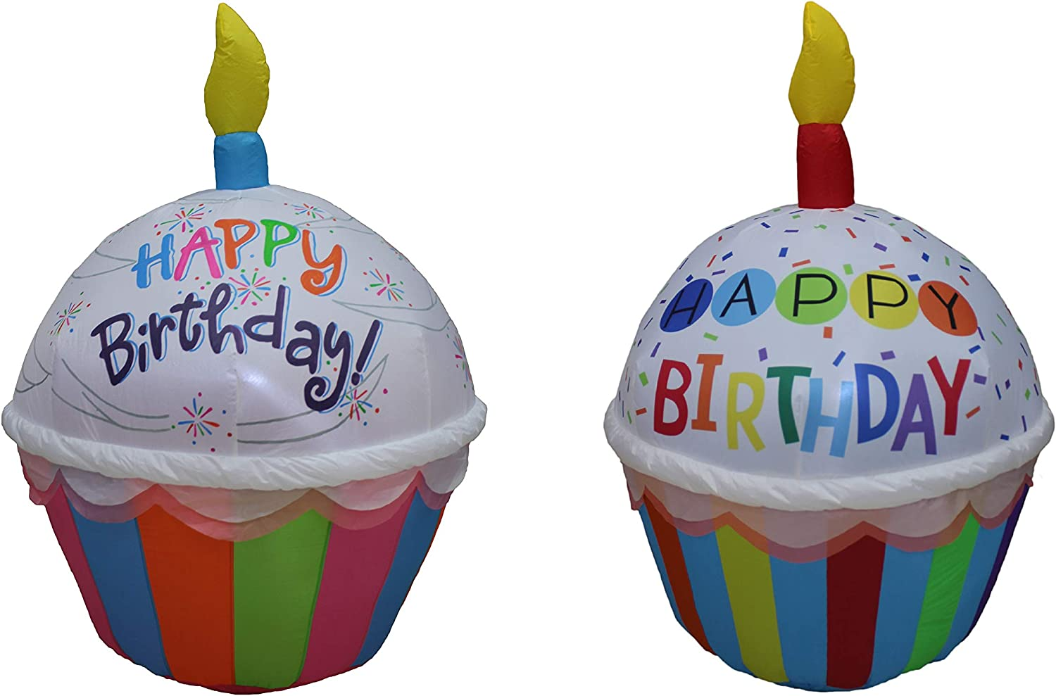 Two Birthday Party Decorations Bundle, Includes 4 Foot Tall Cute Happy Birthday Inflatable Cupcake Red Candle, and 4 Foot Tall Cute Happy Birthday Inflatable Cupcake Blue Candle Blowup with Lights