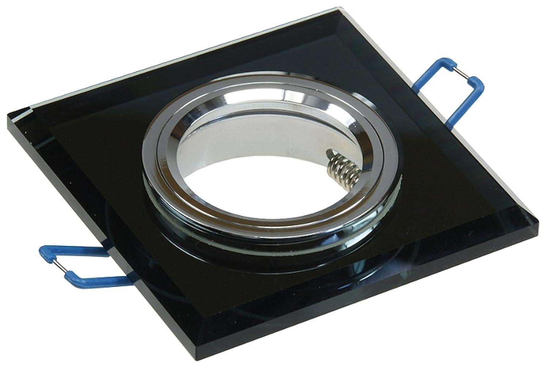 6 Stück SMD LED Glas Einbaustrahler Tristan 12 Volt 3 Watt Starr Schwarz Neutralweiß inkl. LED Trafo