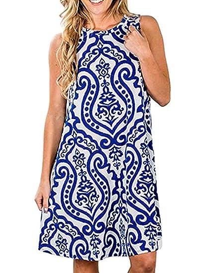 15fdbd1d7ee Esther Womens Summer Casual Bohemian Print Swing Tunic Dress Beach Sundress  with Pockets (A-
