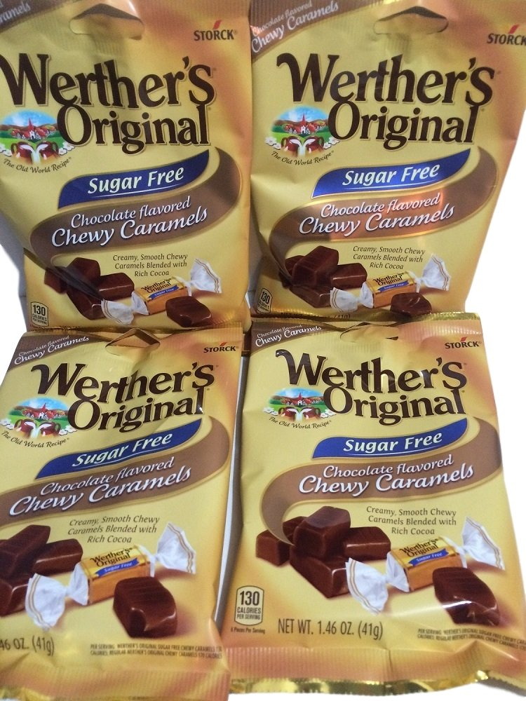 Werthers Original Sugar Free Chocolate Chewy Caramels 1.46oz (Pack of 4)