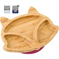 Baby Toddler Fox Cub Suction Plate, Stay Put Feeding Plate, Natural Bamboo (Cherry)