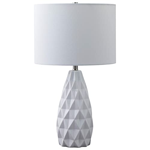 Rivet Modern Geometric Table Lamp with Bulb, 21 H, White