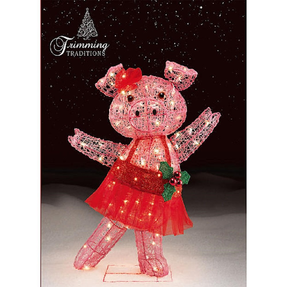 Lighted christmas pig outdoor decoration - Amazon Com Christmas 32 In Dancing Tinsel Pig With Tutu And Bow Outdoor Indoor Yard Decoration Home Kitchen