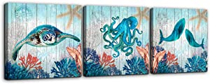 Bathroom Decor Sea Turtle Octopus Whale Canvas Wall Art Ocean Beach Coast Theme Canvas Picture Artwork Ready to Hang for Home Kid Girls Room Bedroom Wall Decoration Size 14x14 3 Piece