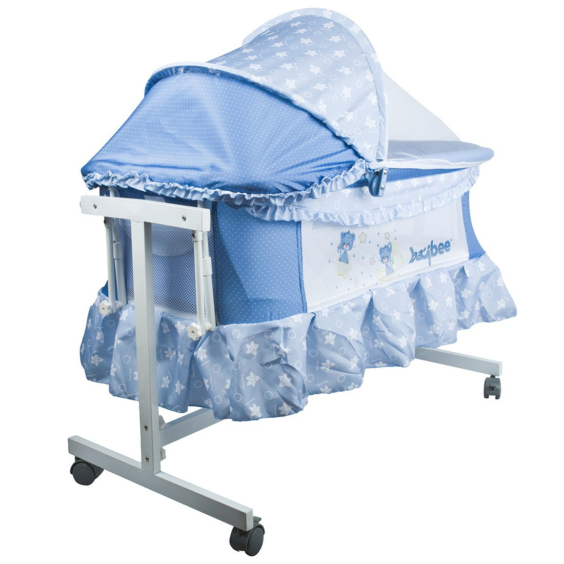 BAYBEE LittleNest Bassinet Metal Alloy Cradle with Mosquito Net-Canopy and Wheels (Mixed Colour)
