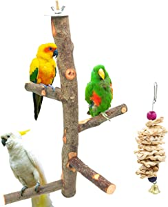 suruikei Bird Perch Nature Apple Hard Wood Stand, Parrot Stand Toy Branch Platform Paw Grinding Stick for Small Parakeets Cockatiels Conures Parrots Love Birds Finches Cage Accessories