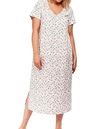 Ex Evans Ladies Pure Cotton Floral Short Sleeve Long Nightdress Nightie  18-32 New  Amazon.co.uk  Clothing 574c82e74