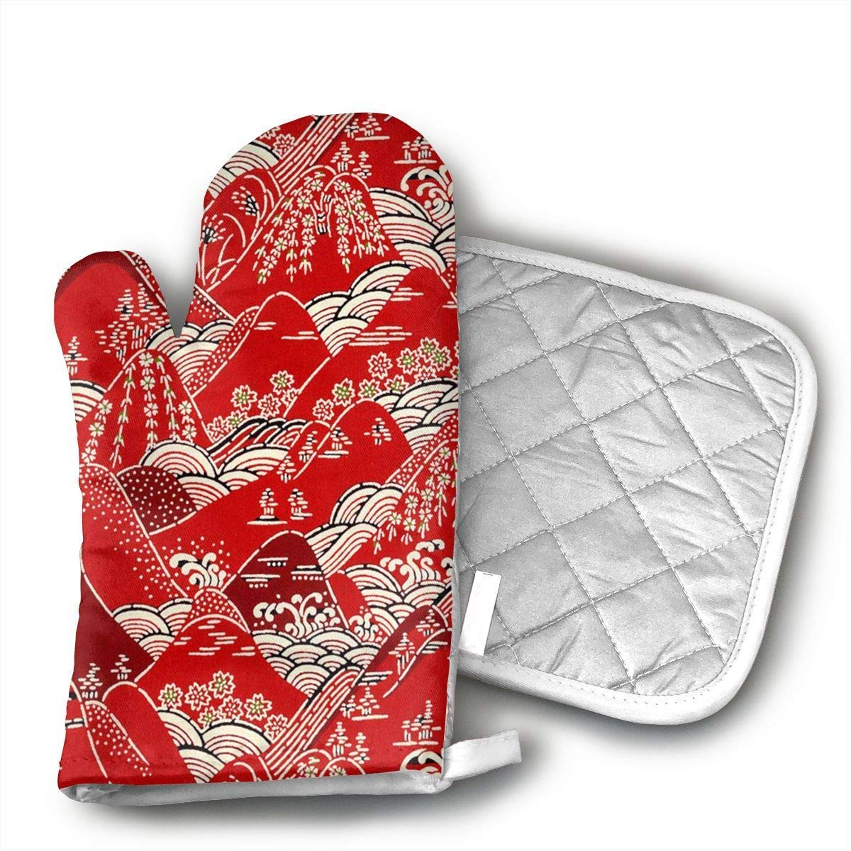 Japanese Art Painting Oven Mitts and Pot Holders Set with Polyester Cotton Non-Slip Grip, Heat Resistant, Oven Gloves for BBQ Cooking Baking, Grilling