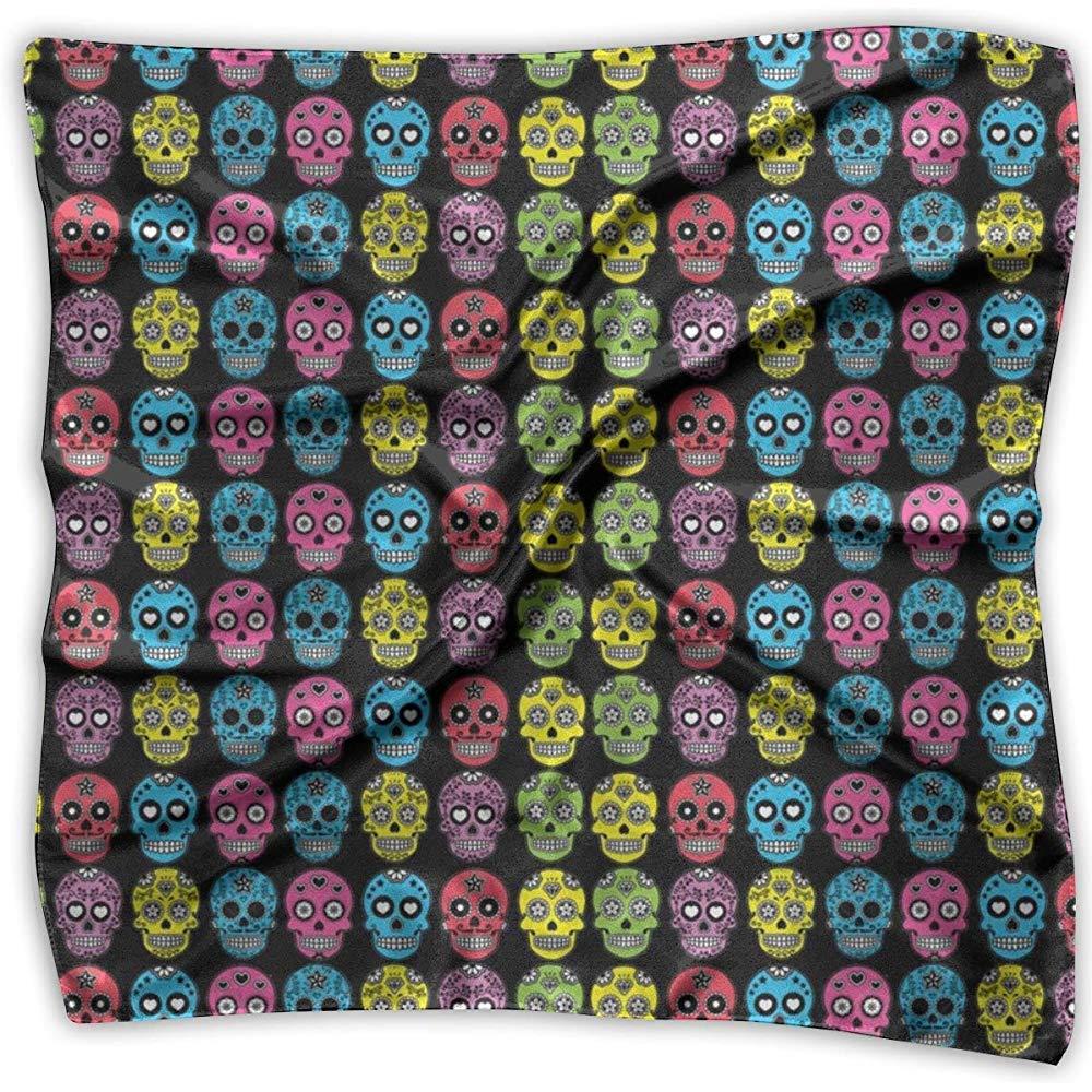 Fazzoletto da collo leggero e traspirante Foulard con stampa digitale teschio di zucchero messicano Uridy Foulard quadrato in seta