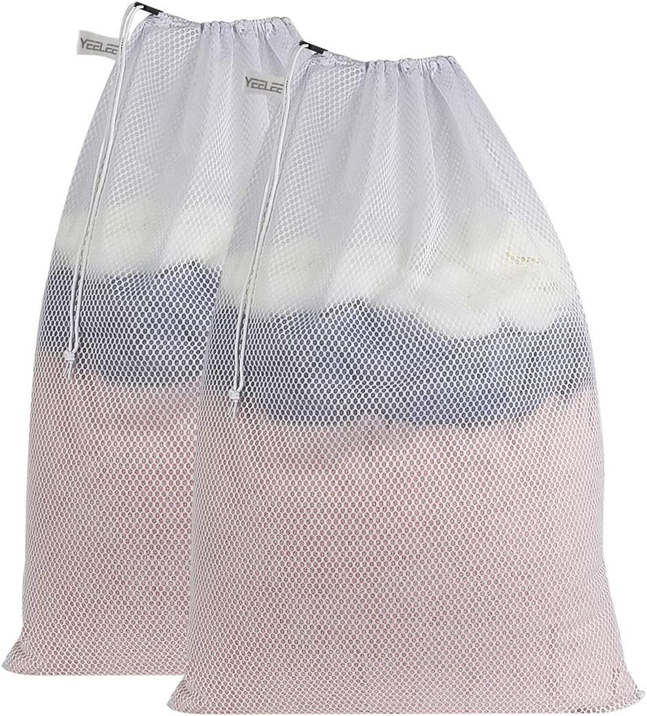 "YEELEE Durable White Mesh Laundry Bag Drawstring Closure, Machine Washable Heavy Duty Clothes Collect Large Bag for College, Travel, Dorm, Apartment 24""x36""(2 Pack)"