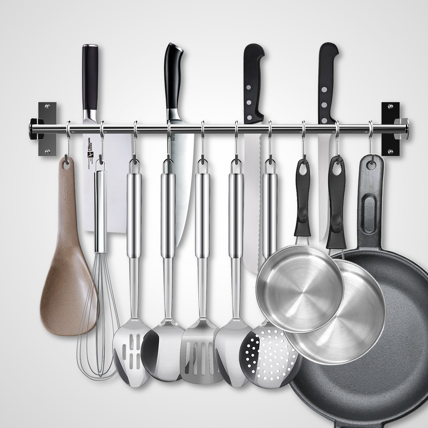 EINFAGOOD Kitchen Pot Rack, Kitchen Hooks Rack 10 Hooks with Knife Holder and Pot Lid Rack,Stainless Steel Double Pipe Loadable over 22 lb 23.62'' Long (Polished Finish)