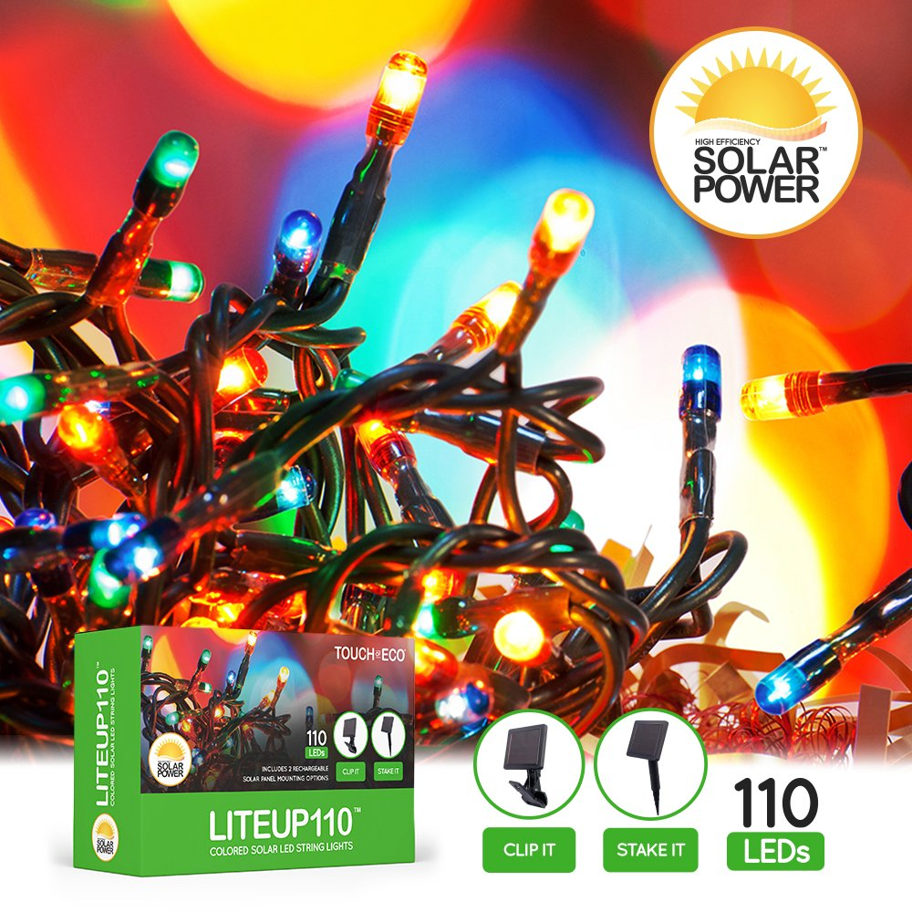 TOE139 White Touch Of ECO LITEUP110 Solar String Lights 110 Count for Holiday or Party Outdoor Lights