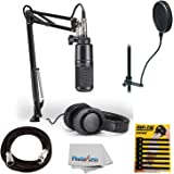 Audio-Technica AT2020 Studio Microphone Pack Top Value Bundle with ATH-M20x Headphone, Boom & XLR Cable + Pop Filter & Extra Mic Cable & More