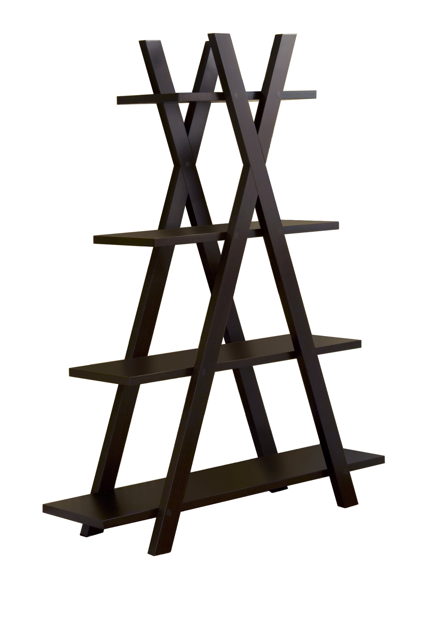 Furniture of America York 4-Shelves Display Stand, Cappuccino