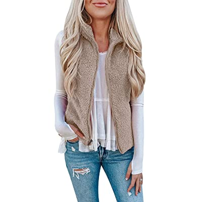 SHIBEVER Womens Casual Fuzzy Vest Sleeveless Sherpa Fleeve Zip Up Warm Cardigan Waistcoat Outwear with Pockets at Women's Coats Shop