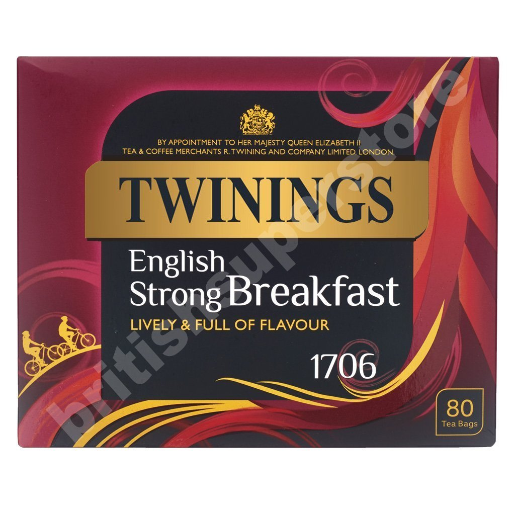 Amazon.com : Twinings 1706 Strong Breakfast, Strong & Traditional Uk, 80  Tea Bags : Black Teas : Grocery & Gourmet Food