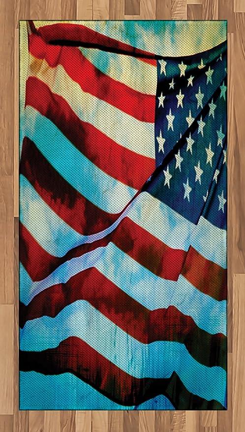 Alfombra de área de bandera americana de Ambesonne, bandera
