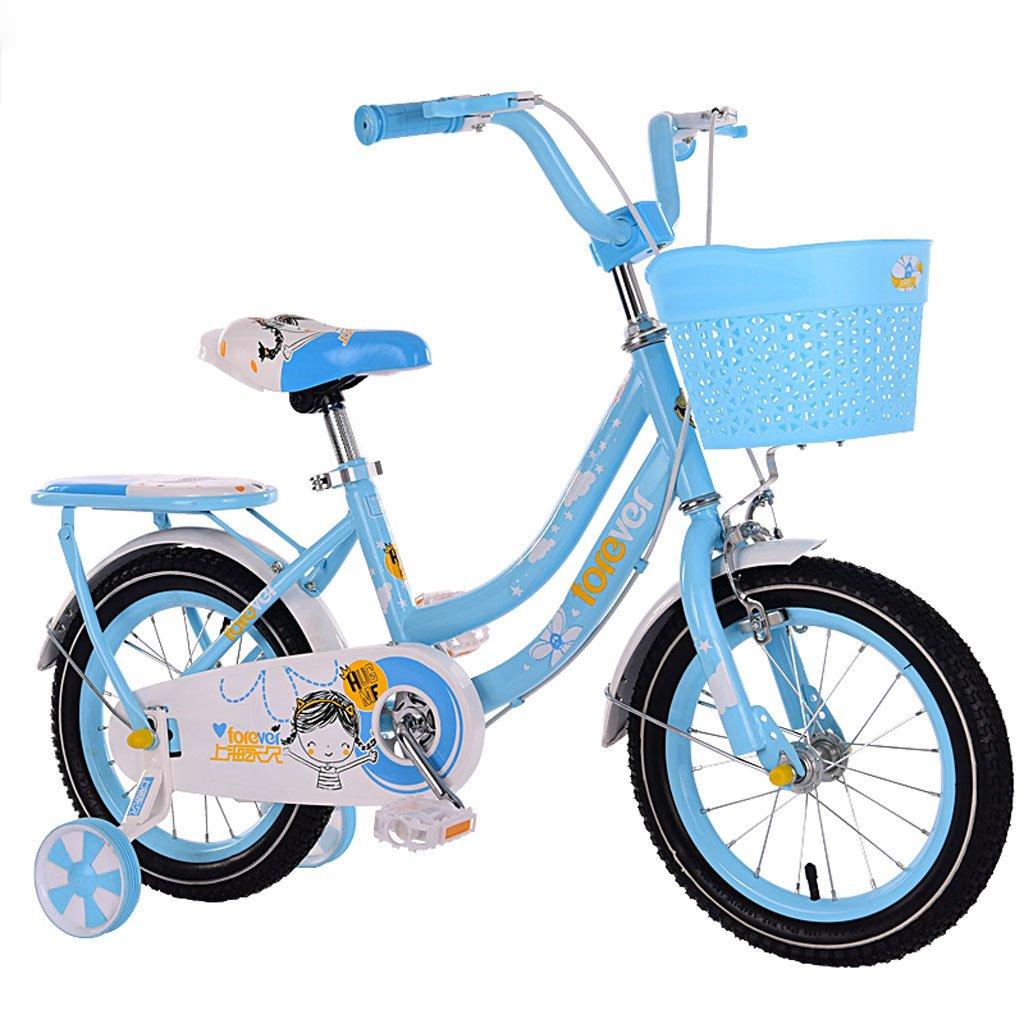 子供用自転車3-7歳のガールズバイクハイカーボンスチールベビーベビーカー14インチ自転車、ピンク/ブルー/レッド (Color : Blue) B07CYMB2TL