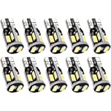 Trisense 194 168 2825 T10 W5W Error Free LED Bulb White, Super Bright 300 Lumens 10-SMD 5730 Chipset LED Bulbs for Interior Dome Map Door Courtesy License Plate Lights, Pack of 10