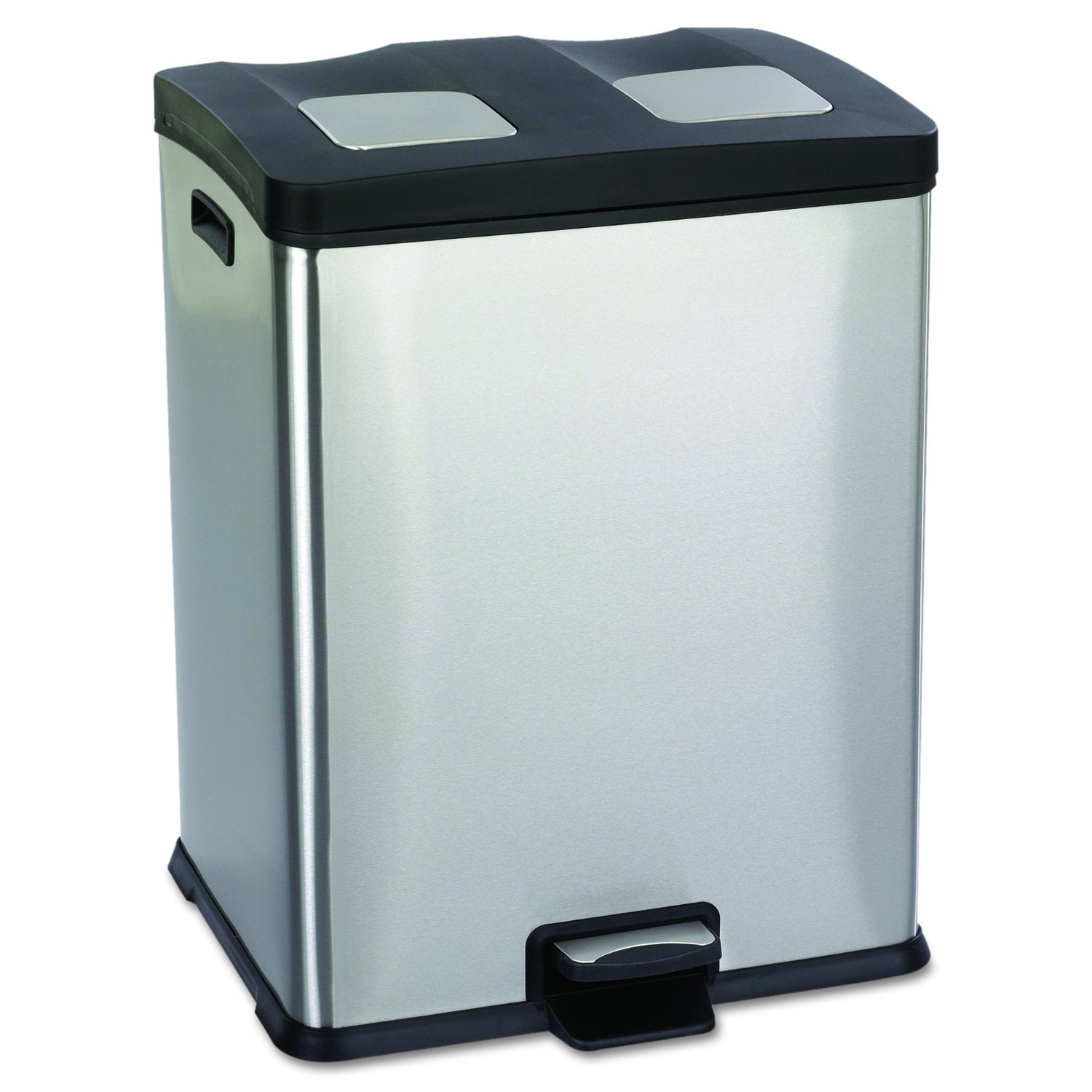 Safco Products 9634SS Right-Size Waste Recycling Station, Two 7 1/2-Gallon Compartments, Stainless Steel