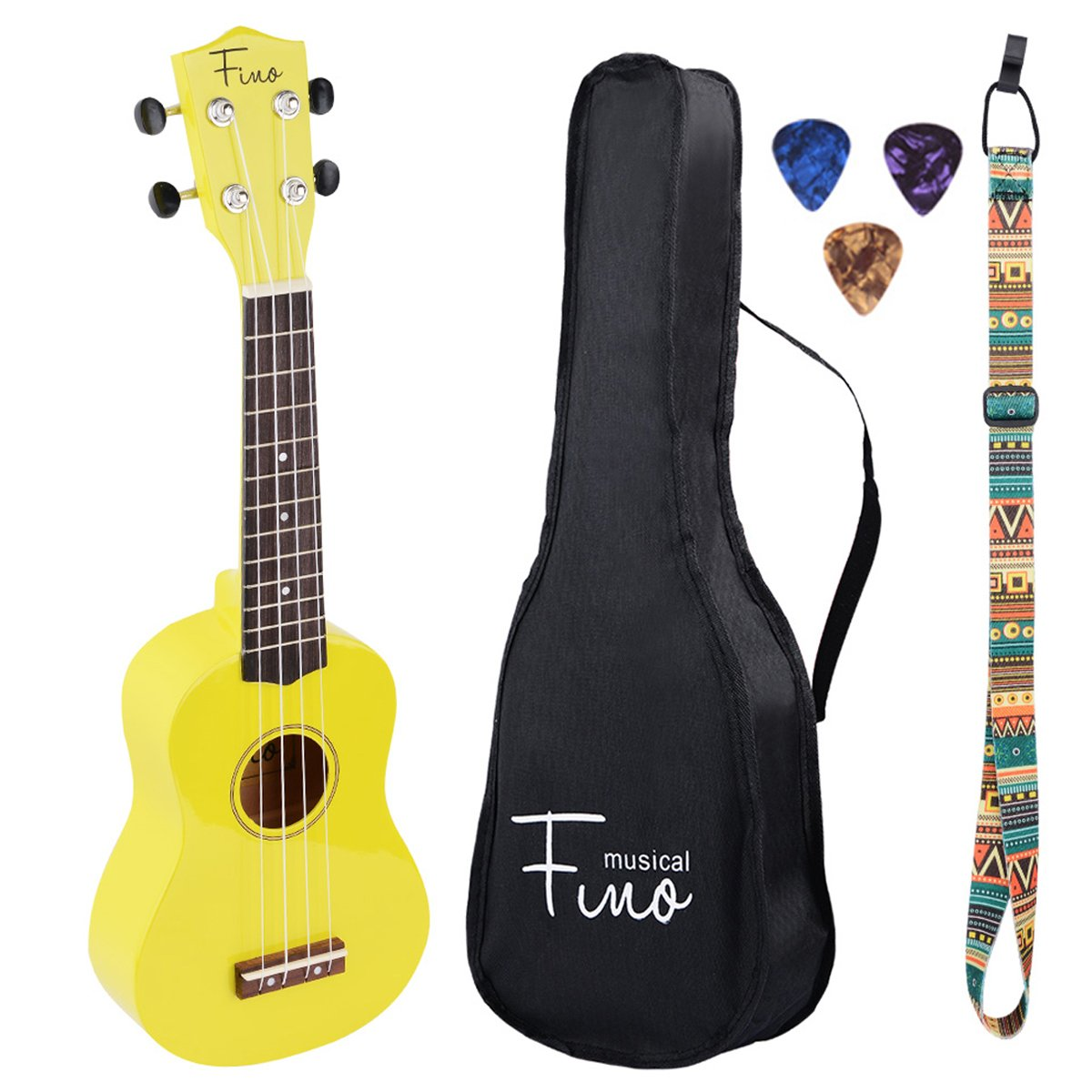 FINO Ukulele Kit for Beginners Rainbow Series,Soprano Ukulele Beginner Pack-21 inch w/Gig Bag,Strap and Picks,Small Guitar for Kids 5-8(Yellow)