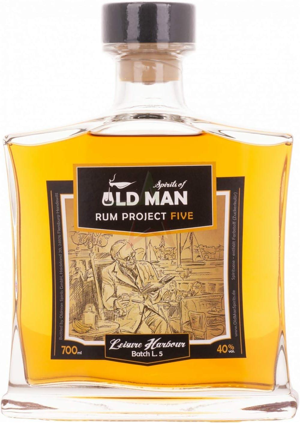 Project Five ron premium del Caribe (embotellado alemán), 8 años de almacenamiento, 40% vol, Botella 700 ml - Spirits of OLD MAN Five - Leisure ...