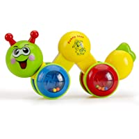Konig Kids Push and Go Funny Worm Toy with Rattle for Toddlers, Green
