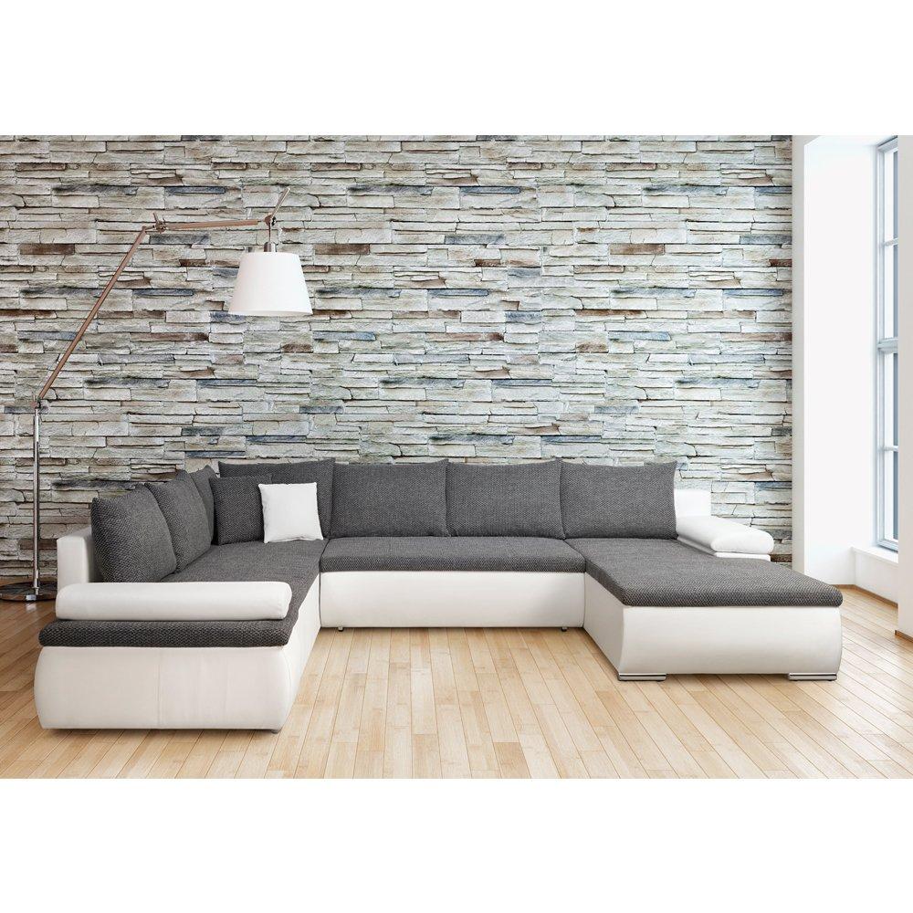 Cesaro Wohnlandschaft Schlafsofa Couch Weiss Grau 322 X 85 X 250 Cm