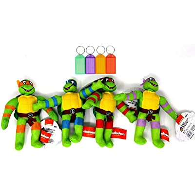 Teenage Mutant Ninja Turtles Plush Set Stuffed Animal Kids Gift Toy + Bonus with Name Tag: Toys & Games [5Bkhe0701894]