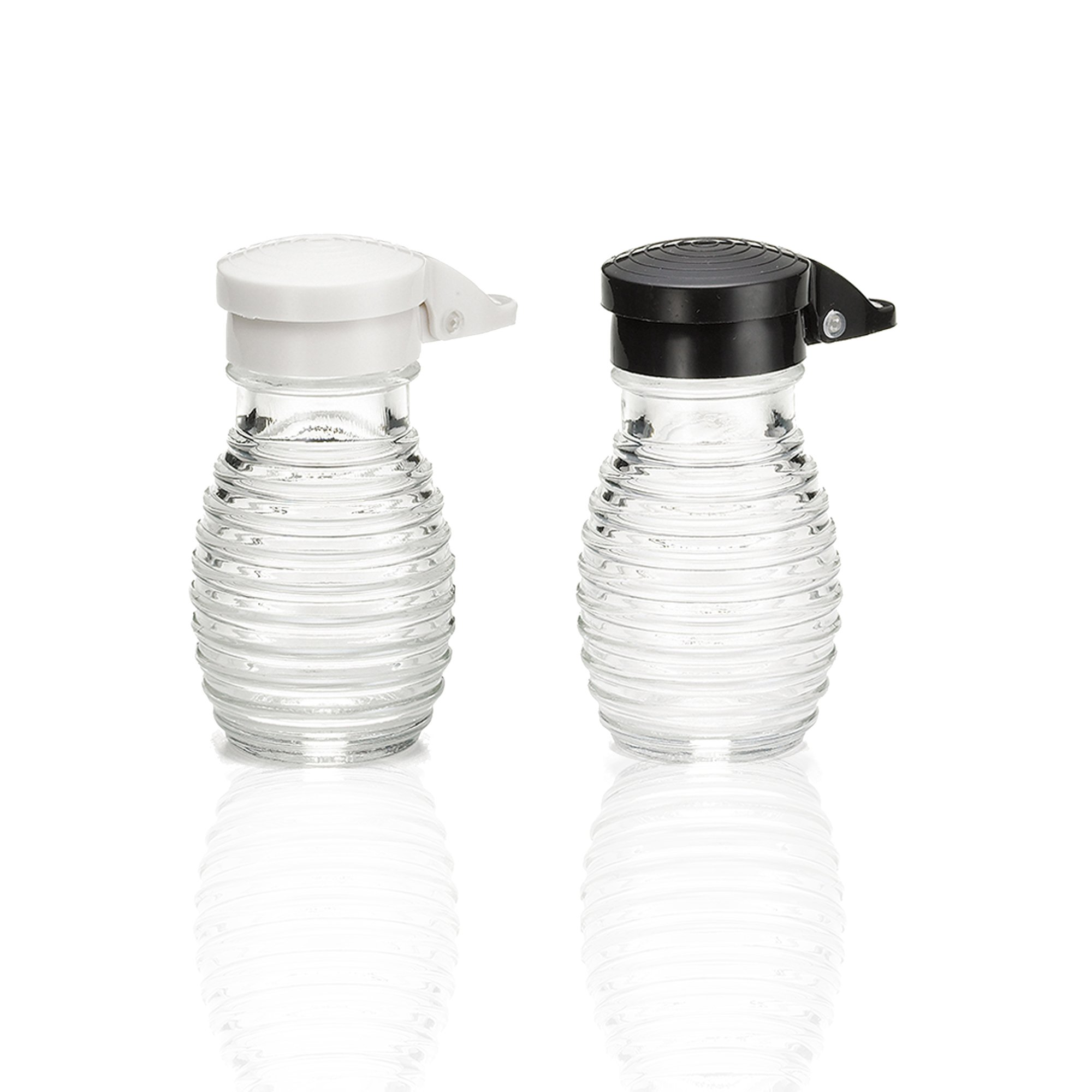 Shake-It-Free Shakers - Tumbler Home Exclusive Moisture Proof Salt & Pepper Shakers, Black & White Lids Spring Loaded, No Clog, 2 Oz, Set of 2