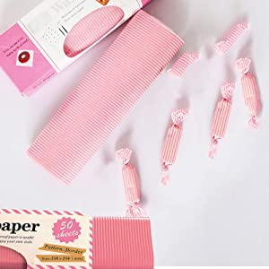 100 Pcs Wax Paper Sheets Deli Paper, Food Wrapping Paper Squares with Greaseproof Waterproof, Pink Tissue Paper for Baking, Cooking, Frying and Wrapping Cheese (Pink Stripes)