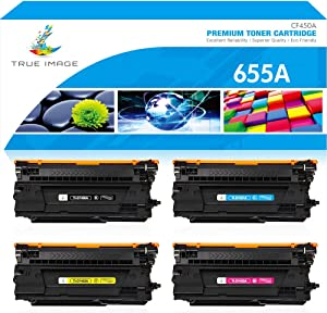 True Image Compatible Toner Cartridge Replacement for HP CF450A CF451A CF452A CF453A 655A Laserjet Enterprise M652n M652 M653dn M653x M653 MFP M681dh M682z M681 (Black Cyan Yellow Magenta, 4-Pack)