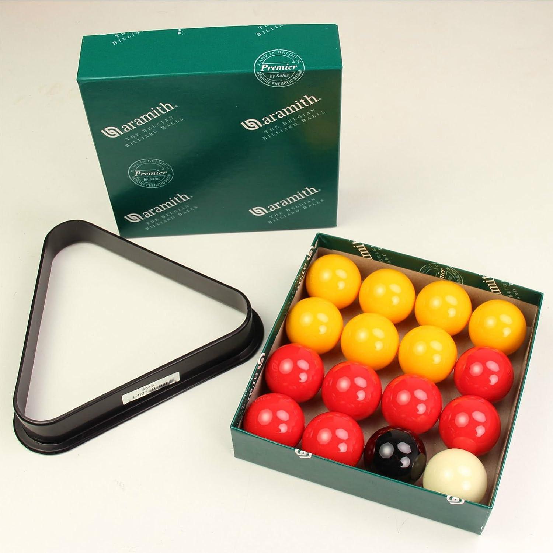 Aramith 3,81 cm Premier niños rojo y amarillo bolas de billar de triángulos: Amazon.es: Juguetes y juegos