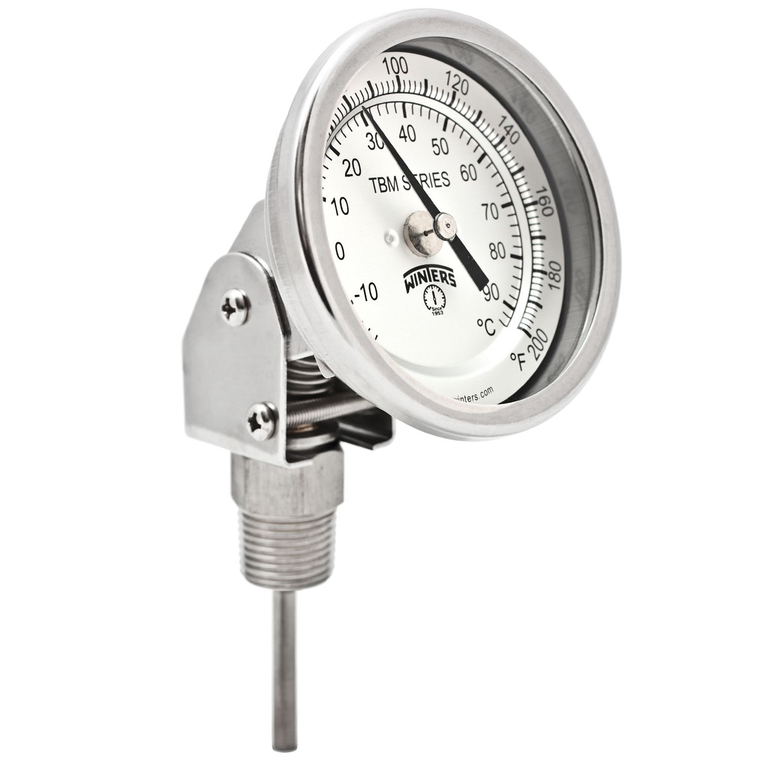 Winters TBM Series Stainless Steel 304 Dual Scale Bi-Metal Thermometer, 2-1/2'' Stem, 1/2'' NPT Adjustable Angle Connection, 3'' Dial, 0-200 F/C Range