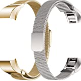 Metal Band for Fitbit Alta HR and Fitbit Alta, Pack of 2, Replacement Stainless Steel Bracelet for Men and Women