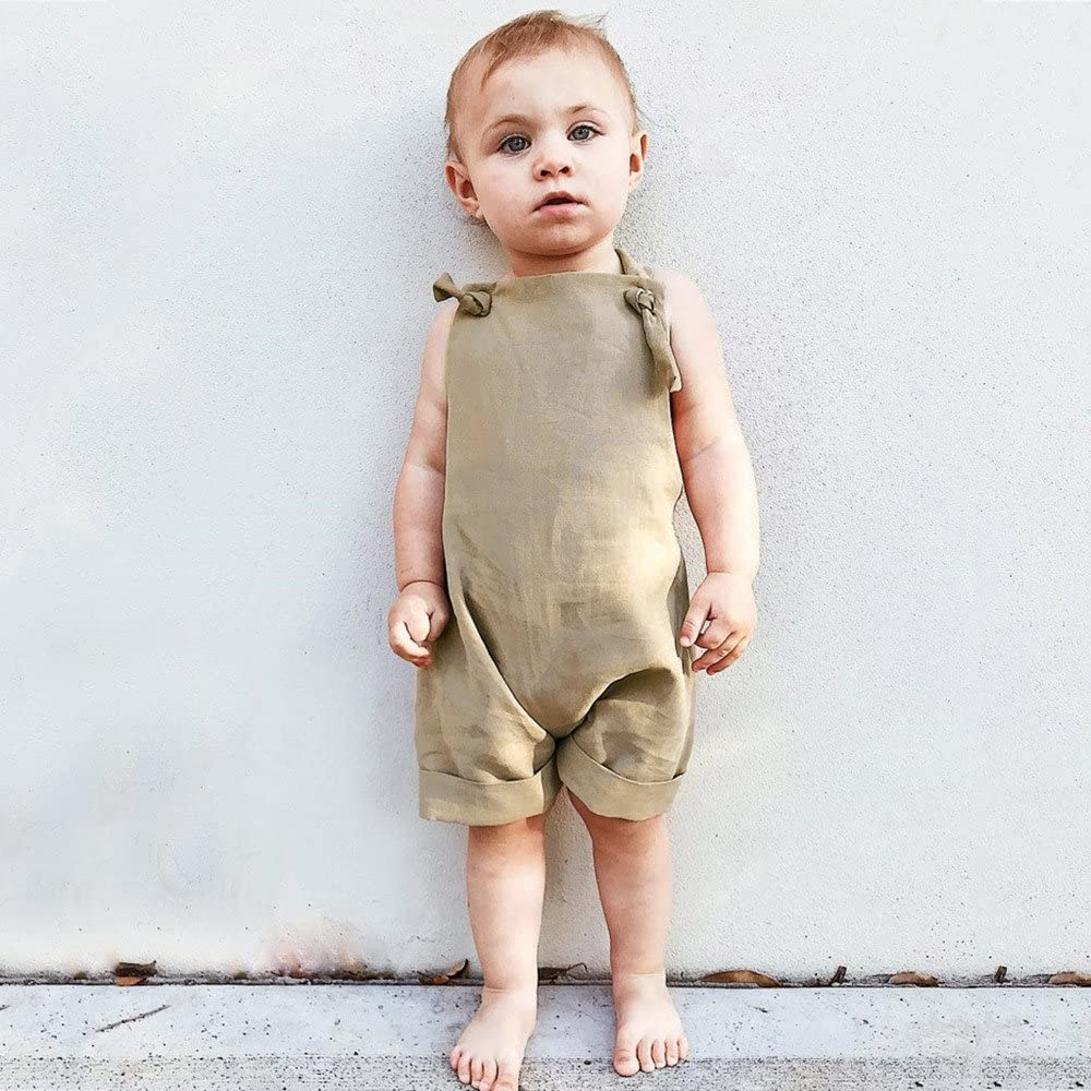 Fenleo Toddler Kids Baby Boys Girls Suspender Harem Romper Outfit